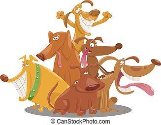 speels, groep, honden, illustratie, spotprent