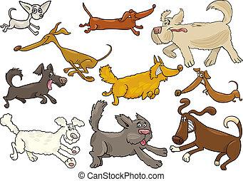 speels, rennende , set, spotprent, honden