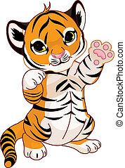 speels, schattig, tijger cub