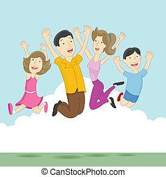 speels, springt, gezin