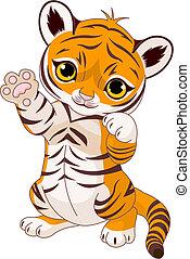 speels, tiger, schattig, welp