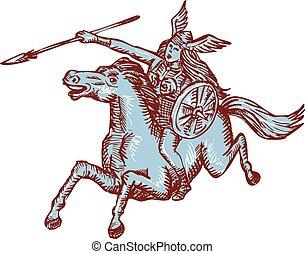 speer, valkyrie, reiten, radierung, krieger, pferd