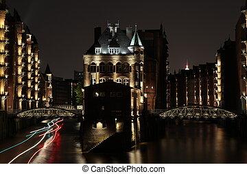 Speicherstadt Hambur bei Nacht