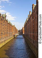 Speicherstadt, large warehouse district of Hamburg, Germany