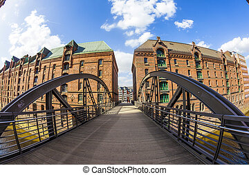 Speicherstadt (Warehouse district) in Hamburg, Germany -...