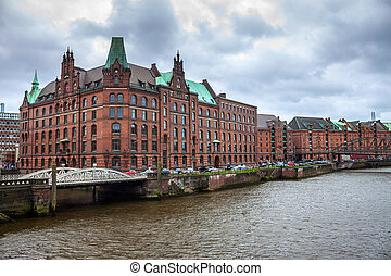 Speicherstadt (warehouse district) in Hamburg, Germany