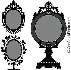 spejl, udsmykket, gamle, vinhøst, prinsesse