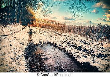 spektakulär, solnedgång, över, snö täckte, landsroad