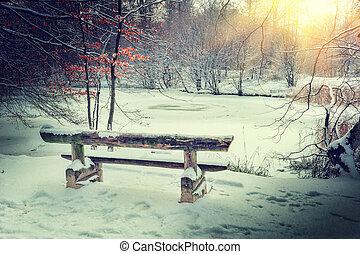 spektakulär, solnedgång, över, vinter, frusen insjö