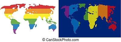 spektrum, pixel, punktiert, weltkarte