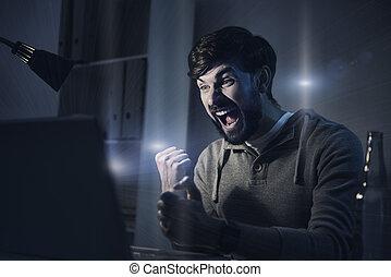 spel, computer, spelend, man, vrolijke