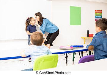spel, leraar, stand, preschool, spelend