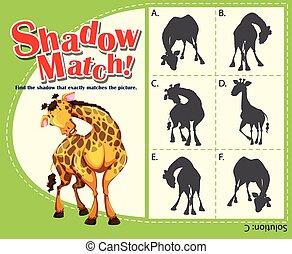 spel, mal, met, bijbehorend, giraffe