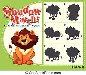 spel, mal, met, bijbehorend, leeuw