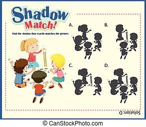 spel, mal, voor, schaduw, bijbehorend, kinderen