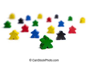 spel, mensen., bewindvoering, cijfers., team, work., kleurrijke, groep