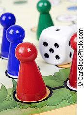 spel, met, pionen, en, dobbelsteen