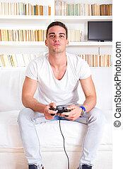 spel, mooi, video, kerel, spelend
