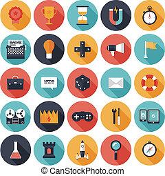 spel, ontwerp, plat, iconen, set