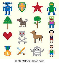 spel, pixel, karakters