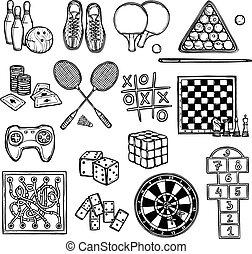 spel, schets, iconen