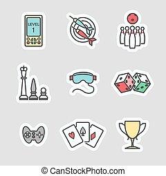 spel, stickers, kleurrijke