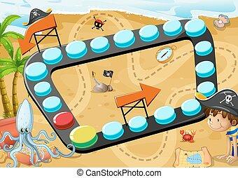 spel, strand, plank