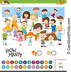 spel, telling, spotprent, kinderen