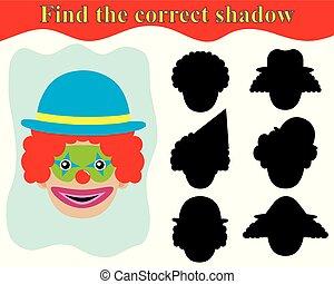 spel, voor, preschool, children., vinden, de, schaduw, van, clown.