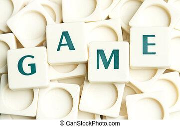 spel, woord, gemaakt, door, leter, stukken