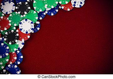 spelande chips, på, purpurfärgad fond