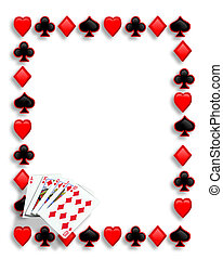 spelande kort, eldgaffel, gräns, kunglig flush
