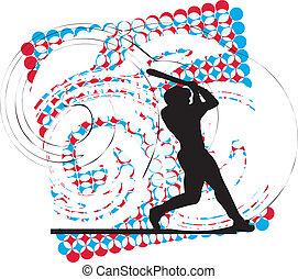 spelare, action., vektor, baseball