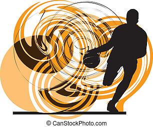 spelare, action., vektor, basketboll