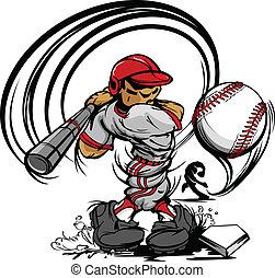 spelare, baseball, tecknad film, svängande, ba