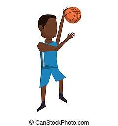 spelare, basketboll, avatar, boll