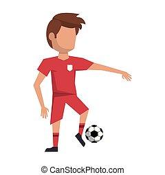spelare, fotboll, avatar, boll