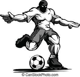 spelare, fotboll, sämskskinn, boll, sparka