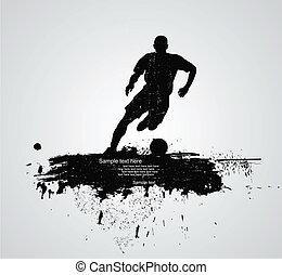 spelare, fotboll, vektor