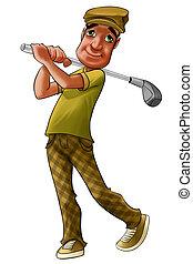 spelare, golf