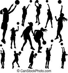 spelare, kvinna, basketboll