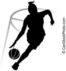 spelare, kvinna, basketboll, silhuett