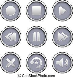 spelare, media, sätta, ikon