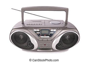 spelare, mini-system, audio, radio