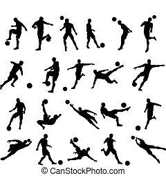 spelare, silhouettes, fotboll fotboll