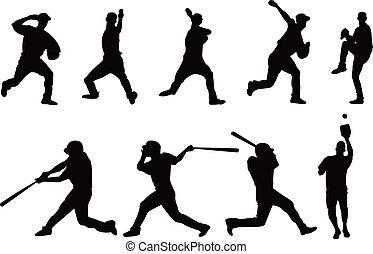 spelare, silhuett, baseball