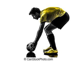 spelare, silhuett, man, brasiliansk, fotboll fotboll, ung