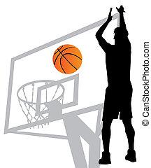 spelare, vektor, silhuett, basketboll