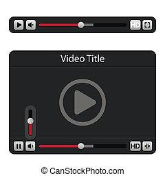 spelare, video, ikon