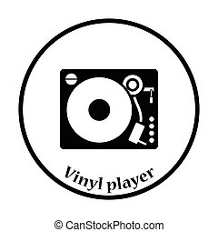 spelare, vinyl, ikon